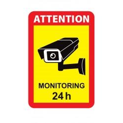 NAKLEJKA MONITORING 24H - ATTENTION auto tatuaż 17x25