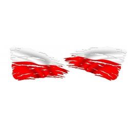 NAKLEJKA FLAGA POLSKA 2 sztuki auto tatuaż