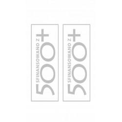 NAKLEJKA SFINANSOWANE Z 500+ SREBRNA 2 sztuki