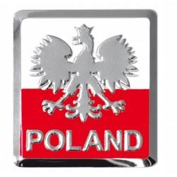 NAKLEJKA ALU EMBLEMAT POLSKA POLAND ORZEŁ 45x45 MM