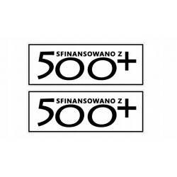 NAKLEJKA SFINANSOWANE Z 500+ 2 sztuki auto tatuaż CZARNA