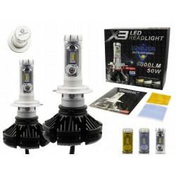 ZESTAW H7 LED X3 ZES 50W 12000lm HOMOLOGACJA kolor