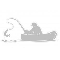 NAKLEJKA hobby WĘDKARZ W ŁÓDCE ryba auto tatuaż