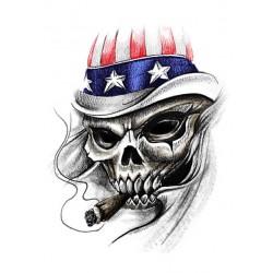 NAKLEJKA CZACHA Z CYGAREM USA FLAGA auto tatuaż