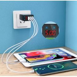 Szybka ładowarka 3x USB z wyświetlaczem LED Szybkie...