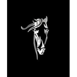 NAKLEJKA chromowana KOŃ auto tatuaż EMBLEMAT 1/06230