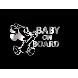 NAKLEJKA chromowana BABY ON BOARD auto tatuaż EMBLEMAT...