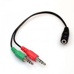 Mini JACK Rozdzielacz sygnału audio na mikrofon i słuchawki