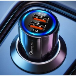 Szybka ładowarka samochodowa 3,1A z 2 portami USB Quick...