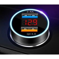 Szybka ładowarka samochodowa 2x USB z wyświetlaczem LED...