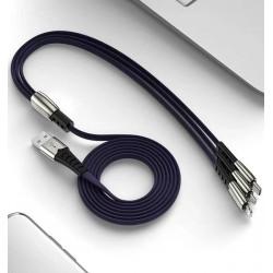 Wzmacniany kabel USB do telefonu 3w1 Micro USB Type-C...