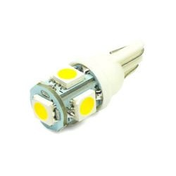 Żarówka samochodowa LED W5W T10 5 SMD 5050 Biała ciepła